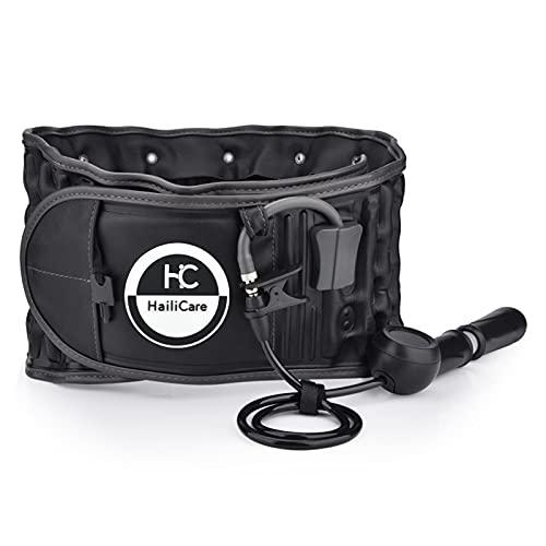 HailiCare Physio Decompression Back Belt, Back Brace Back Support pour soulager les douleurs dorsales, soutien lombaire inférieur, taille unique pour les tailles de 29 pouces à 49 pouces (noir)