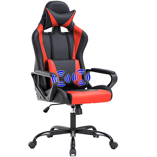 Gaming Chair Home Office Chair Racing Desk Chair with Lumbar Support Arms Headrest High Back PU Leather Massage Ergonomic Chair Rolling Swivel Adjustable PC Computer Chair for Women Adults Girls(Red)