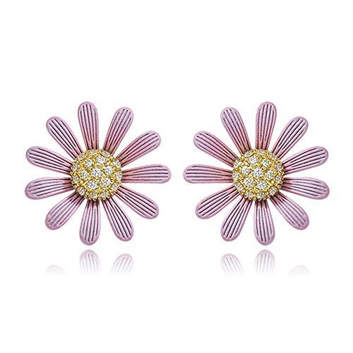 Pequeños pendientes de flores de sol para mujeres y niñas, color dulce caramelo, rosa, morado, margarita, elegante joyería de fiesta