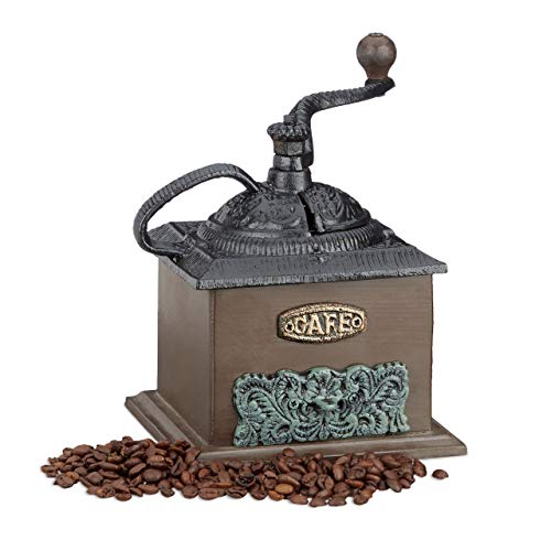 Relaxdays Kaffeemühle Deko Vintage, Holz, Gusseisen, Handkurbel, Schubfach, H x B x T: 20 x 20 x 15 cm, dunkelbraun