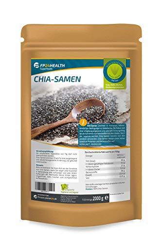 FP24 Health Chia Samen 2000g - Zippbeutel - Rückstandskontrolliert - 2kg - Salvia hispanica - abgefüllt in Deutschland - Top Qualität