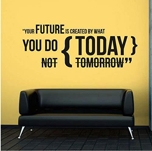 Muurstickers voor vliegtuigen van uw toekomst. Wat doe je vandaag? Kantoordecoratie, motief: citaten, afneembare muursticker, 57 x 21 cm