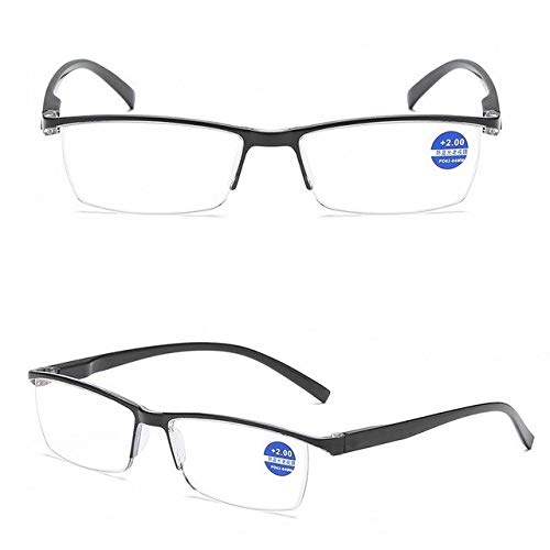 Leesbril methalf montuurHeren Presbyopie Heren DamesHalf randloos Geïntegreerd Anti-blauwstraal 1,0 1,5 2,0 2,5 3,0 3,5 4,0