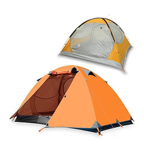LXLTLB Tente Ventilation, Tente De Randonnée pour 3-4 Personnes, Double Couche Automatique Étanche avec Fenêtre en Maille Ventilée, Installation Facile,Orange