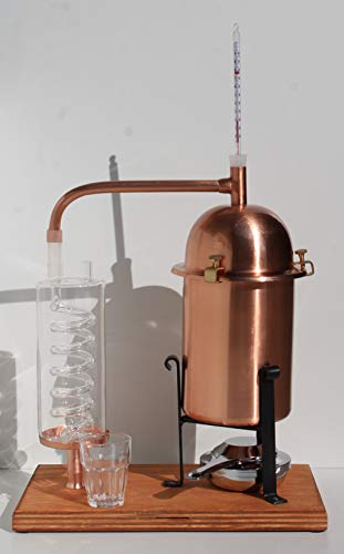 CAFA Alambique de cobre con caldera alta con serpentina de vidrio soplado de Bohemia