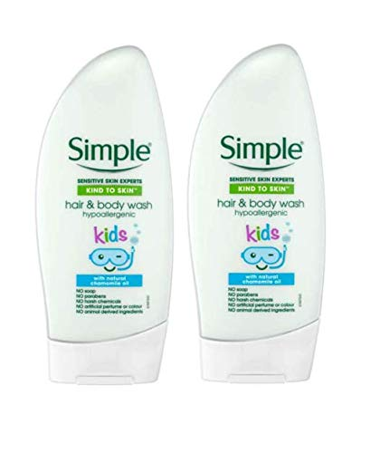 2x Simple Kids Hypoallergenic Hair & Body Wash 250ml with natural Chamomile...