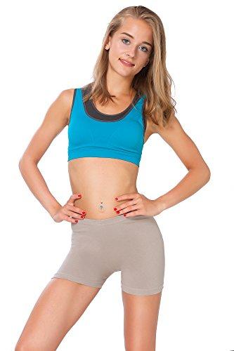 FUTURO FASHION® - Short Moulant de Yoga - Coton très Doux/Extensible - Tailles 36 à 50 - PSL5 - Beige - 42