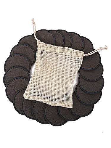 12pcs Tampon De Nettoyage - Maquillage Retrait Coton Pad Fibre De Bambou Réutilisable Rondes Lavables Tampons Pour Visage Oeil