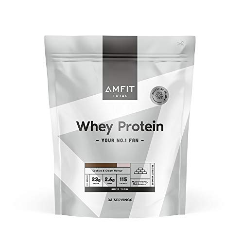 Marchio Amazon - Amfit Nutrition Proteine del Siero di Latte in Polvere 1kg - Crema e Cookies (precedentemente marchio PBN)