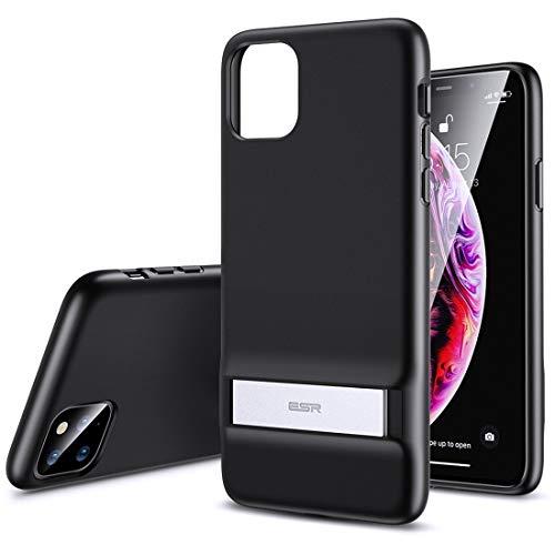 FATEGGS Accesorios para teléfono móvil para iPhone 11 Pro Air Shield Serie Boost a prueba de golpes PC + TPU carcasa de metal con funda de soporte (color: negro sólido)