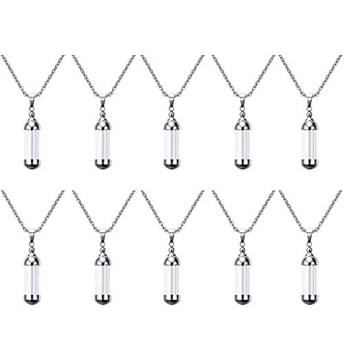 freneci 10pcs Blood Vial Necklace Kit, Cremation Urn Necklace for Ashes, Tube Necklace Pendant, Cremation Urns Jewelry for Ashes Holder Keepsake Memorial