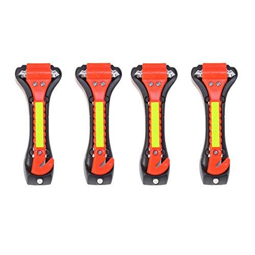 Yardwe 4 Piezas Martillos de Emergencia para Coche martillos de Seguridad para automóvil de Escape Romper la Ventana de Coche y Cortar el Cinturón de Seguridad (Rojo)