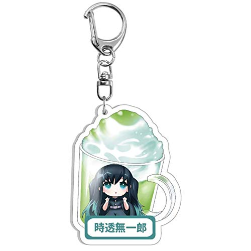 Zhongyanxin 1Pc Anime Früchte Tasse Form Demon Slayer: Kimetsu Nicht Yaiba Kamado Tanjirou Schlüsselring, Acryl Demon Slayer Schlüsselanhänger Anhänger Auto Schlüssel Zubehör (5.5cm)