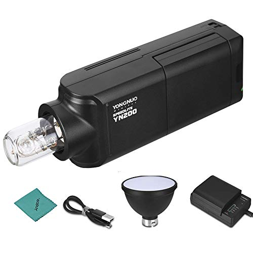 YONGNUO YN200 Portable TTL Flash Speedlite Kit Outdoor Flash Light w/ 2900mAh Lithium Battery & Battery Charger 200W GN60 1/8000s HSS 5600K Compatible with Nikon Sony Canon EOS DSLR Cameras
