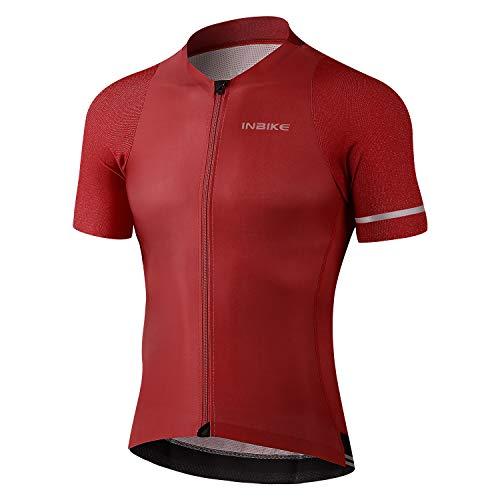 INBIKE Radtrikot Herren Fahrradtrikot Fahrradbekleidung Kurzarm aus Angenehm Atmungsaktiv Stoff Sommer Trikot für Fahrrad Rennrad Laufen Rot L