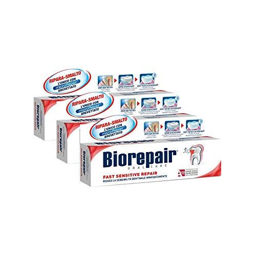 Biorepair, Fast Sensitive Repair, Dentifricio per Denti Sensibili, Protegge lo Smalto, Senza Fluoro, 75 ml - 3 Confezioni