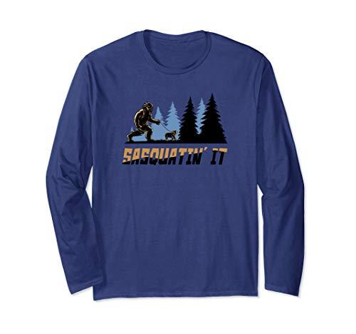 Bigfoot Walking Frenchie Dog Long Sleeve T Shirt