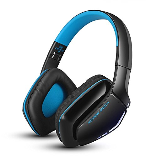 Bluetooth Gaming Headset, Kotion Each B3506 V4.1 Wireless Foldable Gaming Headphones with Microphone for PC Computer PS4 iPhone iPad (Black Blue)