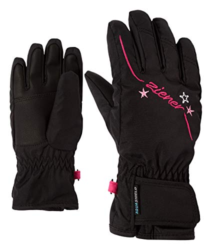 Ziener Mädchen LULA AS GIRLS glove junior Ski-handschuhe / Wintersport | wasserdicht, atmungsaktiv, schwarz (black), 4