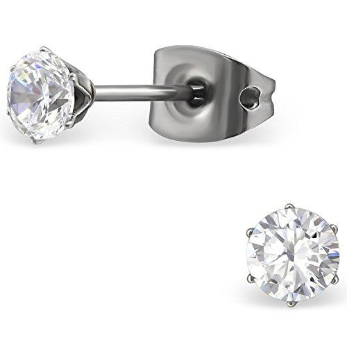 EYS JEWELRY Ohrstecker Damen rund Titan Zirkonia kristall-weiß Damen-Ohrringe