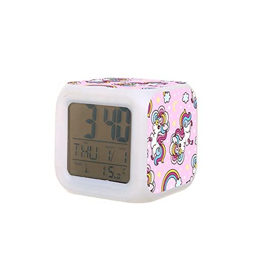 LED Moda Estudiantes Creativos El Despertador De Unicornio El Reloj Despertador El Reloj Cuadrado