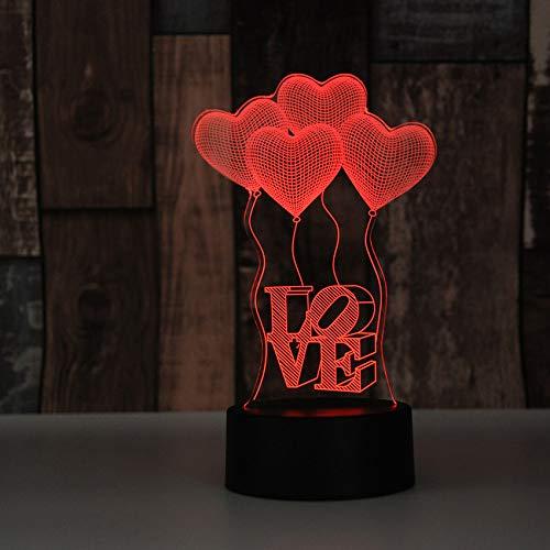 HNXDP Led bunte usb powered kleine tischlampe acryl kreative 3d geschenk liebe ballon nachtlicht a4 riss basis + fernbedienung