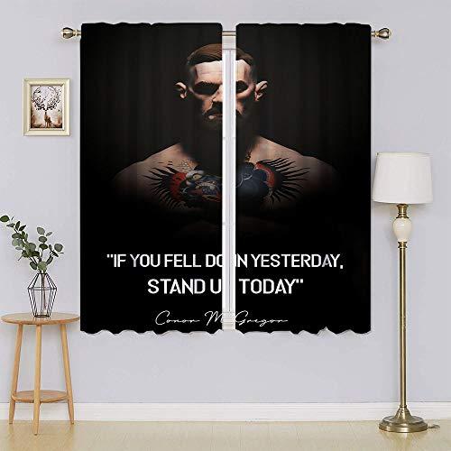 Cortinas y cortinas opacas con cita de Conor McGregor, para sala de estar, privacidad, eficiencia energética, para sala de estar, 132 x 163 cm