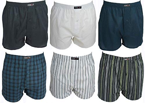 6er Pack Remixx American-Boxershorts für Herren mit trendigen Karos in 100 Baumwolle, Farbe:Farbenmix 1;Größe:7/XL