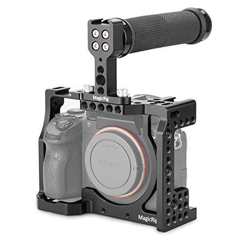Gaiola de câmera MAGICRIG DSLR com alça superior para câmera Sony A7RIII /A7III /A7SII para kit de extensão de liberação rápida