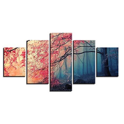 ZSLWllDec Lienzo HD imprime carteles decoración del hogar arte de la pared árboles rojos imágenes del bosque 5 piezas pinturas de flores de cerezo marco de la sala de estar Sin marco 70x25cm