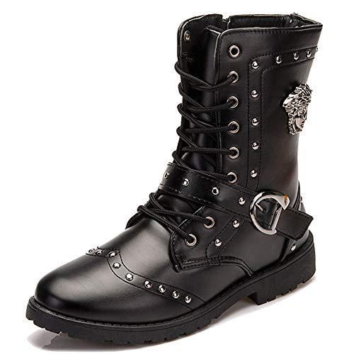 MERRYHE Männer Mode Martin Stiefel High Top Lace Up/Zip Schuhe Rivet Short Boot PU Leder Mitte Kalb Stiefel Schwarz Cowboy Biker Schuhe,Black-41