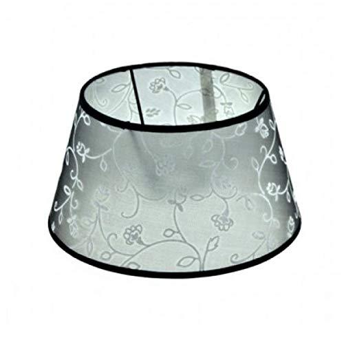 Lampenschirm Schwarz mit weißen Blumen Transparent E27 für Tischlampe Stehlampe Ø 25 cm