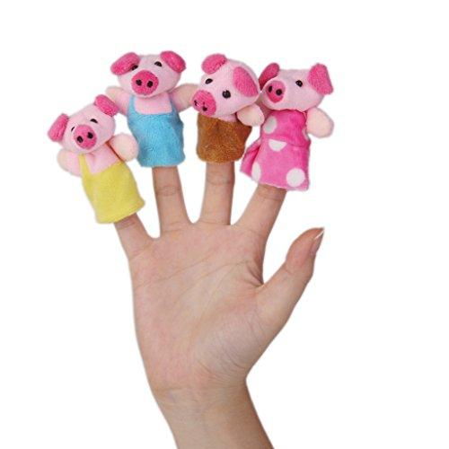 #N/A/a Marionetas de Dedo Súper Lindas, Muñecas Familiares de Animales de Peluche, Accesorios para Espectáculos de Escenario de Navidad para Niños - Los Tres cerditos (8 pcs)
