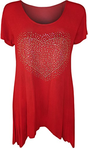 New Mesdames Manches Courtes Big Heart Stud Hanky Ourlet Long Top Plus Taille - Rouge - 50