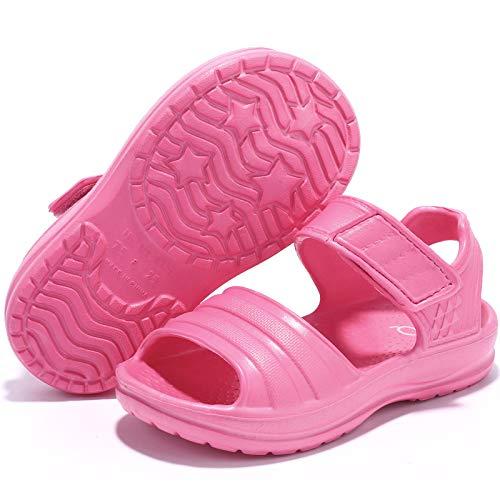 STQ Toddler Sandals Girls Summer Slip On Water Shoes for Beach Swim Pool, FUCHSIA, 11 M US Little Kids