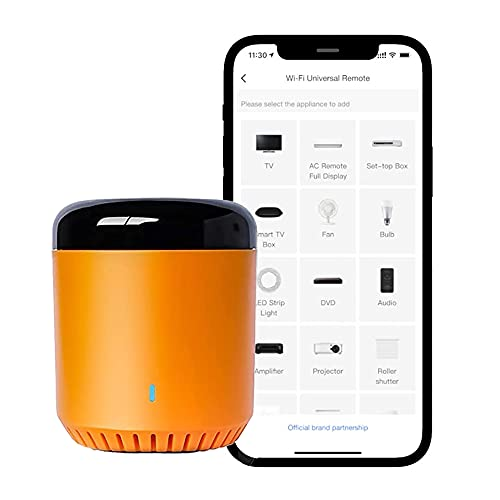 RM Mini 3 Orange Bean All-in-One IR-38K Universal Wi-Fi Smart Home Hub with IR Remote Control, Learn Alexa Compatible Universal Remote Control for Broadlink