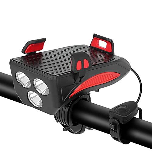 Luz de bicicleta recargable USB 4 en 1, linterna para bicicleta, claxon, campana de alarma, faro MTB, soporte para teléfono móvil, Power Bank y soporte magnético para teléfono