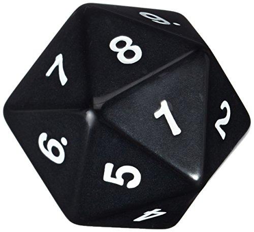 Koplow Games 55mm Jumbo D20 Opaque Black with White Numbers