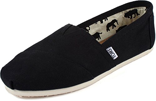 Toms Women's Classic Canvas (BLACK,) Slip-on Shoe - 5.5 B(M) US