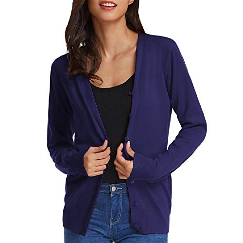 GRACE KARIN Damen Strickjacke Langarm Casual Kurz Button Down Elegant Cardigan 2XL Dunkelblau CLAF1002-7