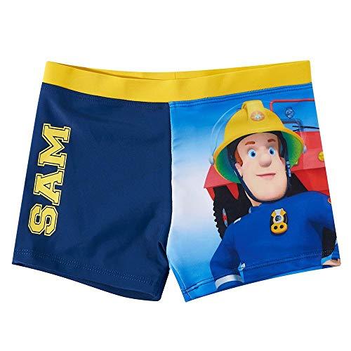 Kinder Badehose | Feuerwehrmann Sam | Größe 104-140 | Badeshorts | Badeboxer, Größe:104, Farbe:Dunkelblau