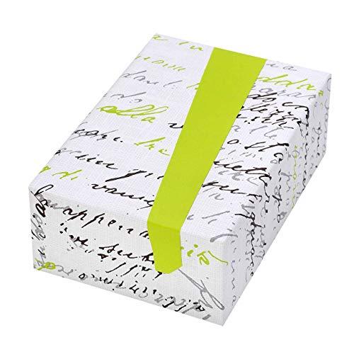 Geschenkpapier Rolle 50 cm x 50 m, Motiv Lirica, Schrift mit grüner Rückseite. Für Geburtstag, Frauen, Männer, Frühling, Sommer, Buchhandel.