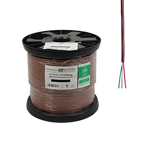 18/3 Solid, HVAC-Thermostat Cable, UL/ETL CL3R/CMR/FT4, 18AWG 3 Pure Copper Conductors, Indoor/Outdoor UV Resistant RoHS Brown 500ft Spool
