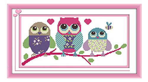 eGoodn Stamped Cross Stitch Kits with Printed Pattern - Cartoon Owl, 18.9 inches by 9.5 inches 11ct Aida Fabric for Embroidery Art Cross-Stitching Lovers