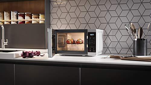 SHARP YC-MG02E-S Mikrowelle mit Grill (800 W, 20 L, 11 Leistungsstufen, Eco-Funktion, Auftaufunktion, Kindersicherung), schwarz/silber