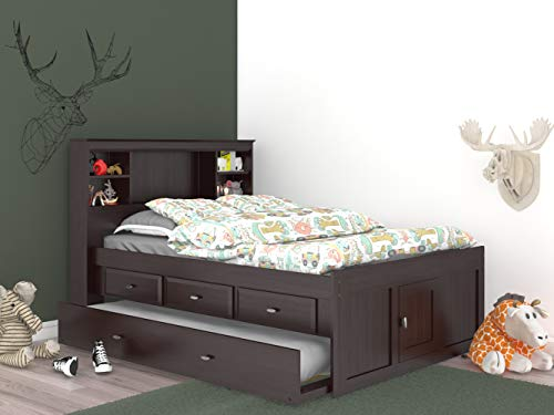 Espresso Full Bookcase Bed with 3 Drawers and Trundle