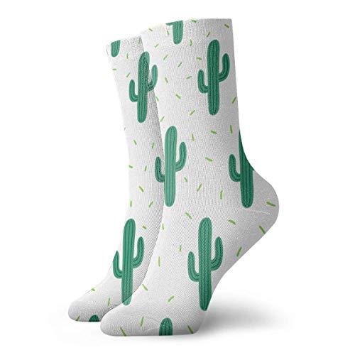 N\A Cactuses On White Background Crew Cushion Calcetines deportivos deportivos casuales de algodón para correr para hombres y mujeres