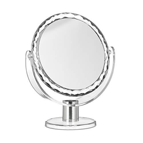 Relaxdays Kosmetikspiegel Vergrößerung, Schminkspiegel stehend, Make Up Spiegel rund, HBT: 23 x 19 x 10 cm, transparent