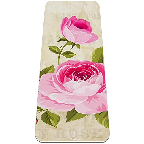 Thick Yoga Mat 6mm Fitness & Exercise Mat, (72'L x 24'W x 1/4 Inch), Rose Flowers Garland