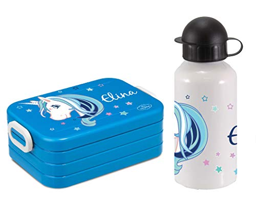 Mein Zwergenland Set Lunchbox Mepal Maxi Take A Break midi Brotdose und Alu-Trinkflasche mit eigenem Namen Türkis, Einhorn Beauty